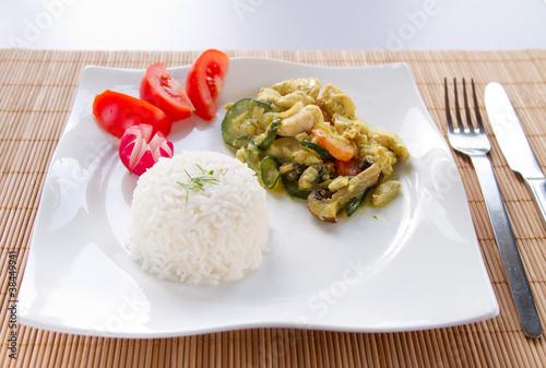 reis mit chicken curry