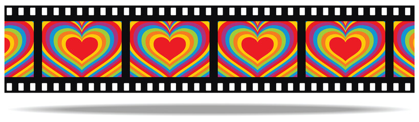 film with colored heart
