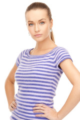 lovely woman in striped sweater