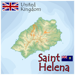 saint helena uk island map flag emblem