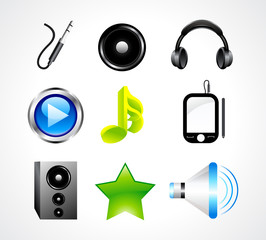 abstract glossy music icon set