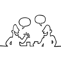 Black line art illustration of two people having a conversation.