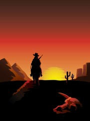 A lonesome cowboy on a horse rides off into the sunset.