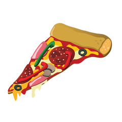 Delicious pizza slice with various tasty toppings.