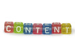 Text Content on colorful wooden cubes