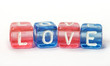 Text Love on colorful cubes