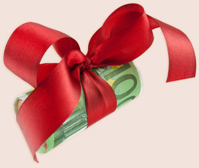 rouleau billet 100 €, ruban rouge