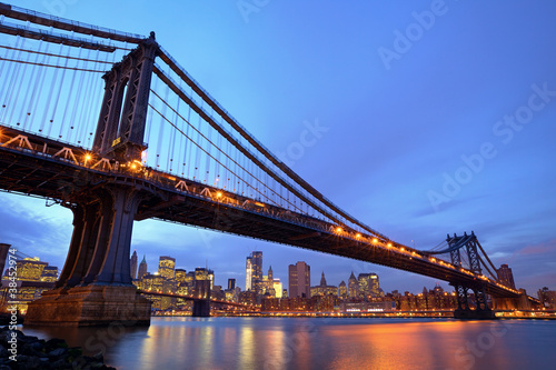 Manhattan Bridge at dusk in New York City
