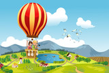 Fototapety Kids riding hot air balloon
