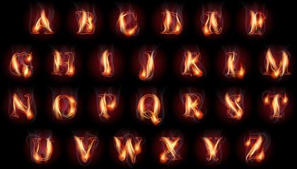 burning letters set