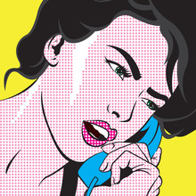 Fille Pop Art avec Téléphone
