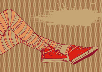 background with female legs in striped stockings and sneakers