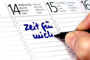 Kalender mit Eintrag Zeit für mich