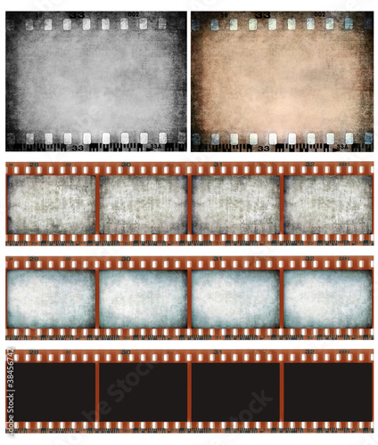 Grunge color filmstrip texture set