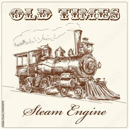 hand drawn steam locomotive