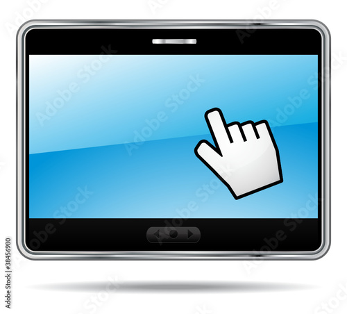 Touchscreen digital tablet with hand cursor.