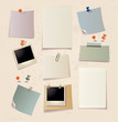Note pad and pins set.Vector