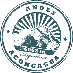 Stamp with the Mount Aconcagua, highest mountain in the Americas