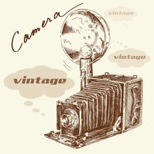 main antique caméra dessinée