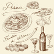pizza -  hand drawn set