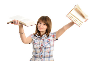 student throwing books away