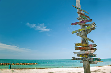 mileage milepost on beach in key west florida