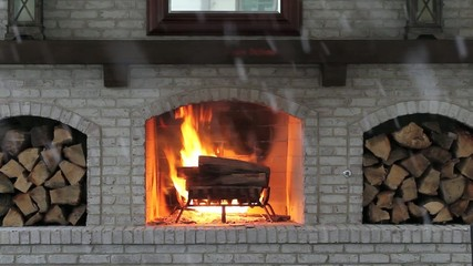 outdoor fireplace in winter