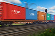 Leinwandbild Motiv Freight train with cargo containers