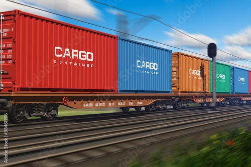 Freight train with cargo containers - 38461906