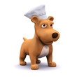 3d Dog in the kitchen with his chefs hat on.