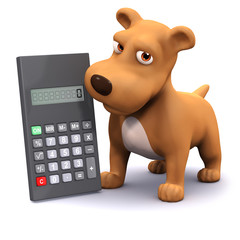 3d Dog crunches numbers with his calculator