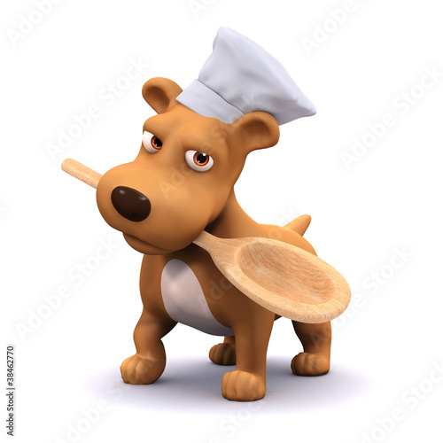 3d Dog in chefs hat offers you the spoon to taste