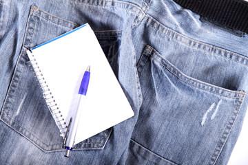 Notizen auf Jeans