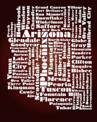 abstract map of Arizona state, USA