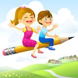 Fototapety Children on Flying-Pencil Ride