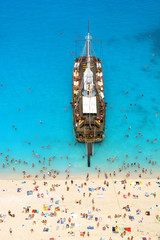 Ship on the Navagio beach, Zakynthos Island, Greece
