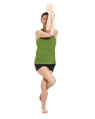 woman doing eagle position