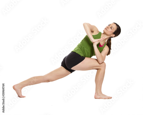 woman doing revolved crescent lunge