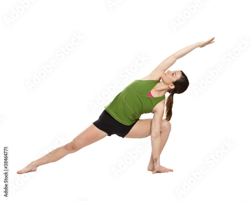 woman doing extended side angle