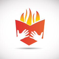Logo Hot Literature, red book # Vector