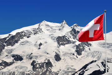 Beautiful mountain Monte Rosa with Swiss flag - Swiss Alps