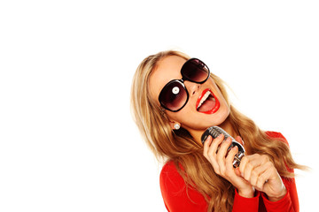 Singing Blonde Holding Microphone