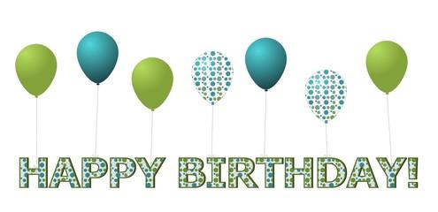 Balloons Tied to Happy Birthday