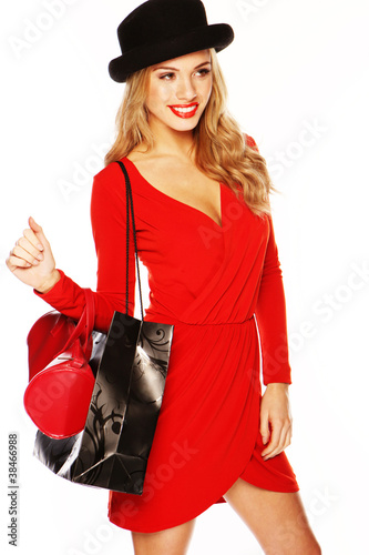 Fashion Model Wearing Sexy Red Outfit