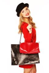Glamorous Blonde Woman Out Shopping