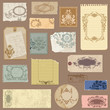 Set of Old paper with Vintage Frames and Damask elements in vect