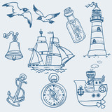 Nautical doodles - Hand drawn collection in vector