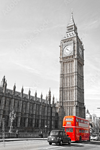 Obraz The Big Ben, the House of Parliament and the Westminster Bridge
