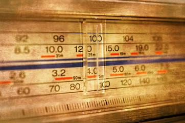 Grunge radio tuning control panel close up