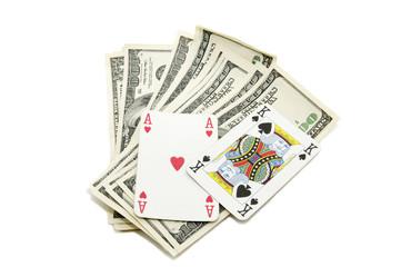 доллары и игральные карты,